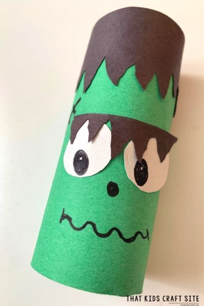 Frankenstein Toilet Paper Roll Craft for Halloween - ThatKidsCraftSite.com