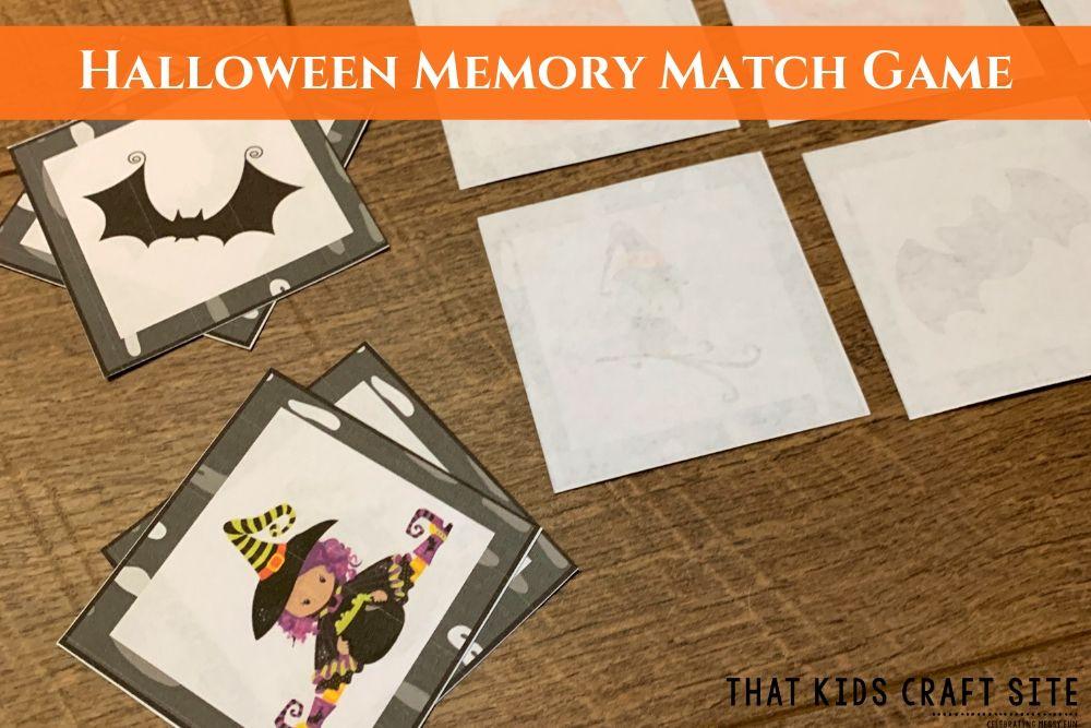 Halloween Memory Match Game for Kids - ThatKidsCraftSite.com