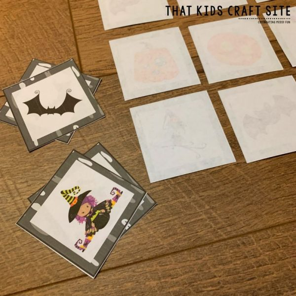 Halloween Memory Matching Game for Preschool - ThatKidsCraftSite.com