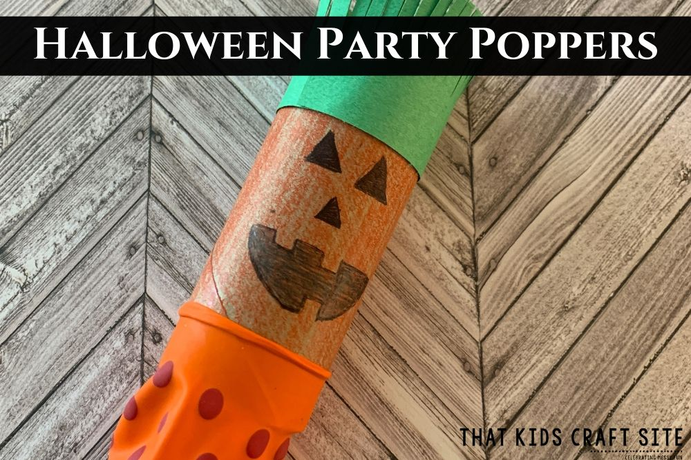 Halloween Party Game - Pumpkin Popper Craft for Kids - ThatKidsCraftSite.com