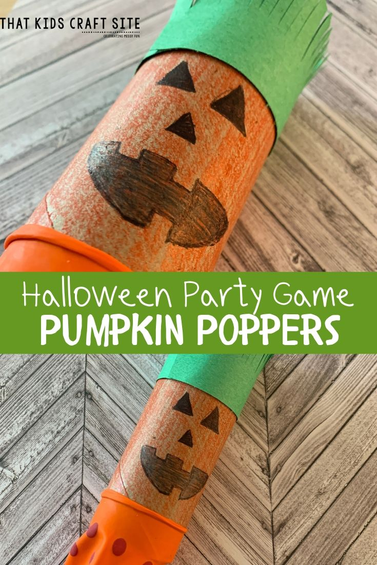 Halloween Party Game - Pumpkin Poppers - a Halloween Craft for Kids - ThatKidsCraftSite.com