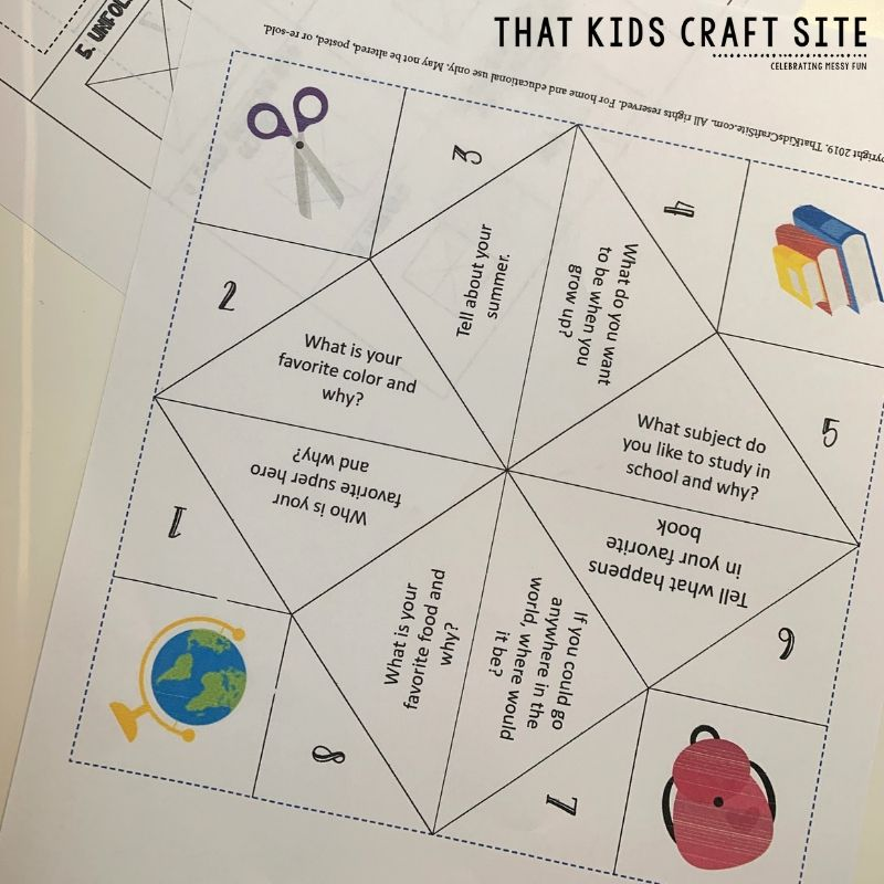 photograph relating to Printable Cootie Catcher Template titled Printable Fortune Teller: Again towards University - That Young children Craft Web-site