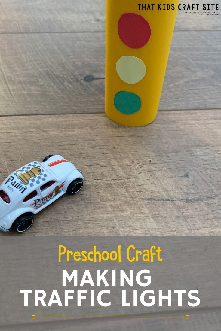 Preschool Craft: Making Traffic Lights for a Car Rug - ThatKidsCraftSite.com