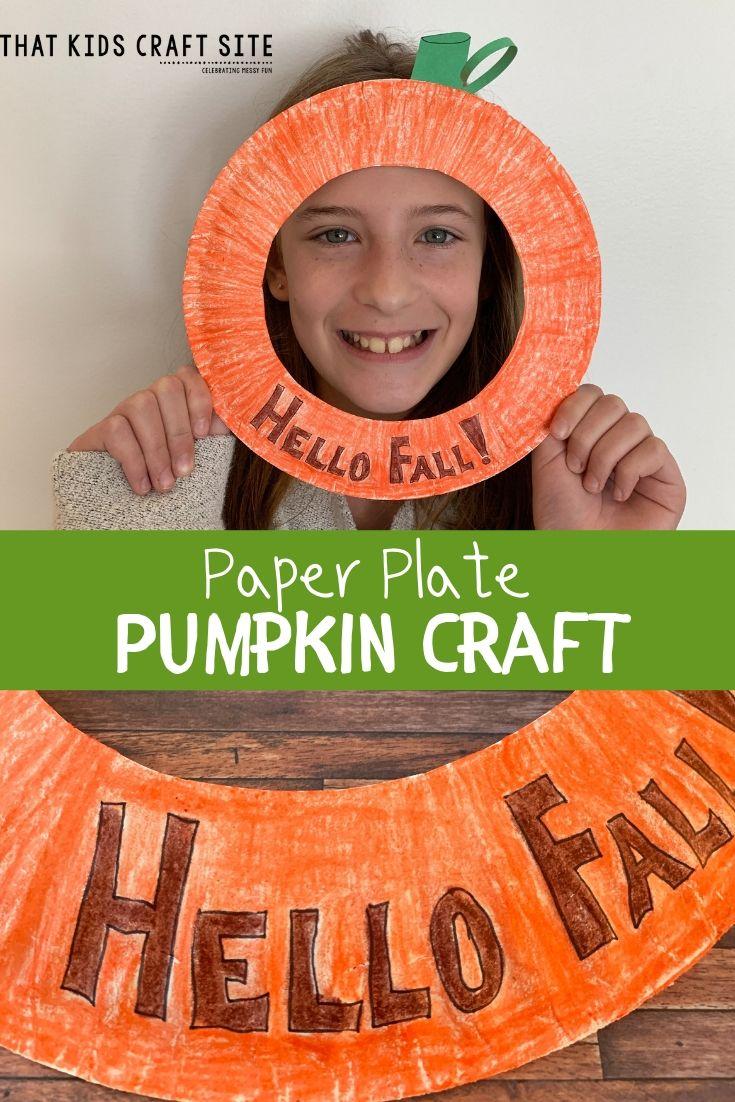 Paper Plate Pumpkin Craft - a Halloween Craft for Kids - ThatKidsCraftSite.com