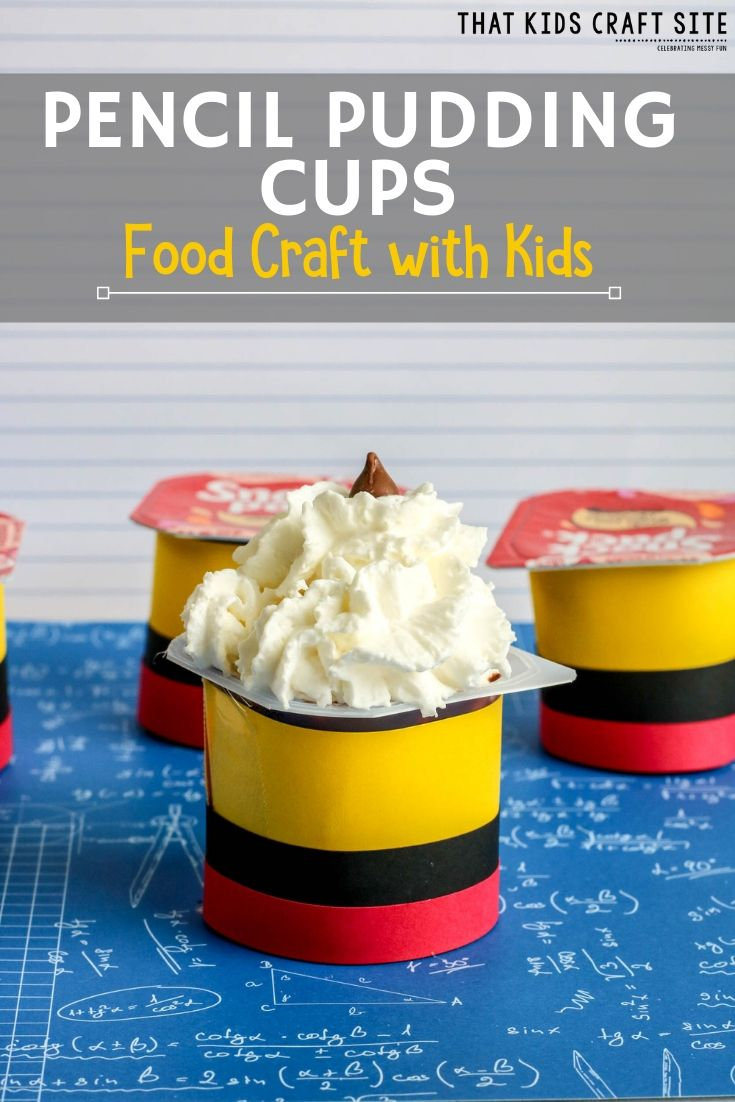 Pencil Pudding Cups Food Craft with Kids  - ThatKidsCraftSite.com