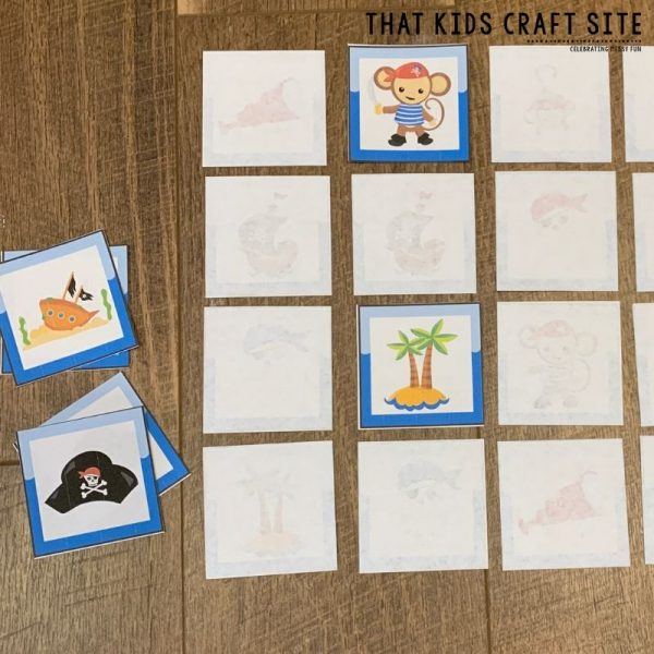 Pirate Memory Matching Game for Preschool - ThatKidsCraftSite.com