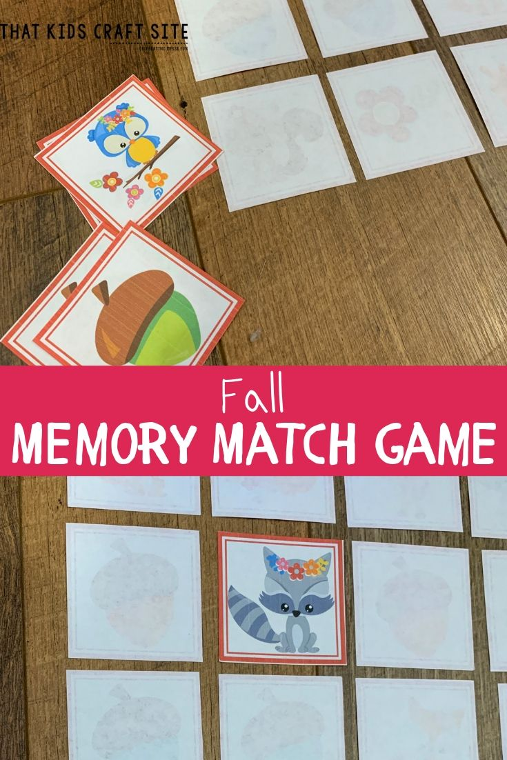 Printable Fall Memory Matching Game - ThatKidsCraftSite.com