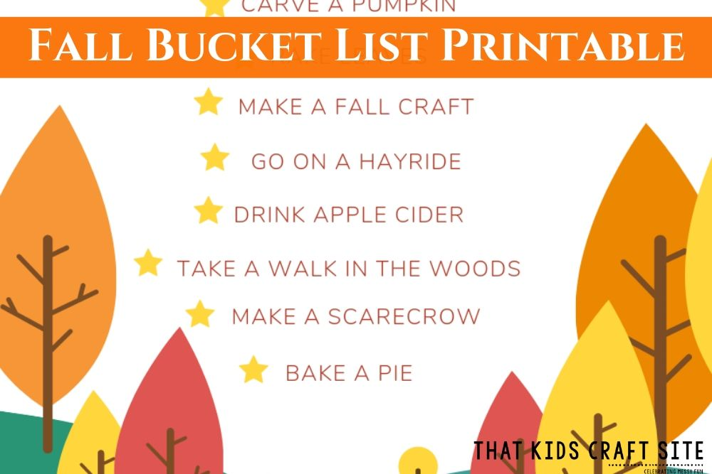 Fall Bucket List Printable for Families - ThatKidsCraftSite.com