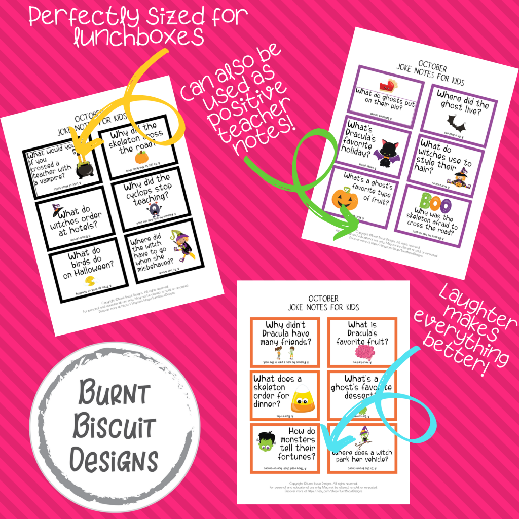 Printable Halloween Jokes Lunch Box Notes for Kids - Burnt Biscuit Designs