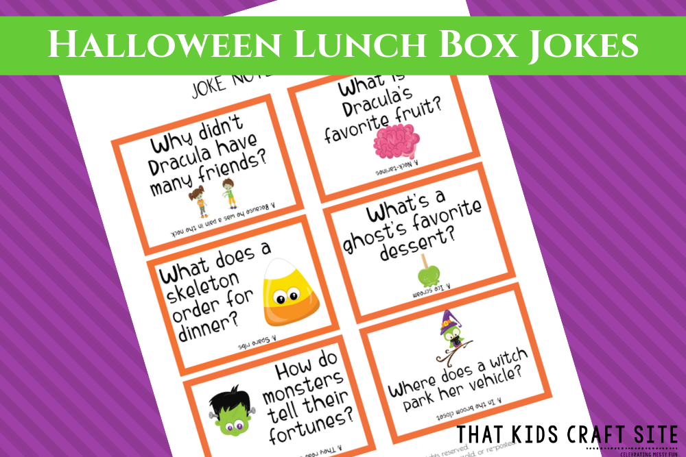 Halloween Lunch Box Jokes Printable