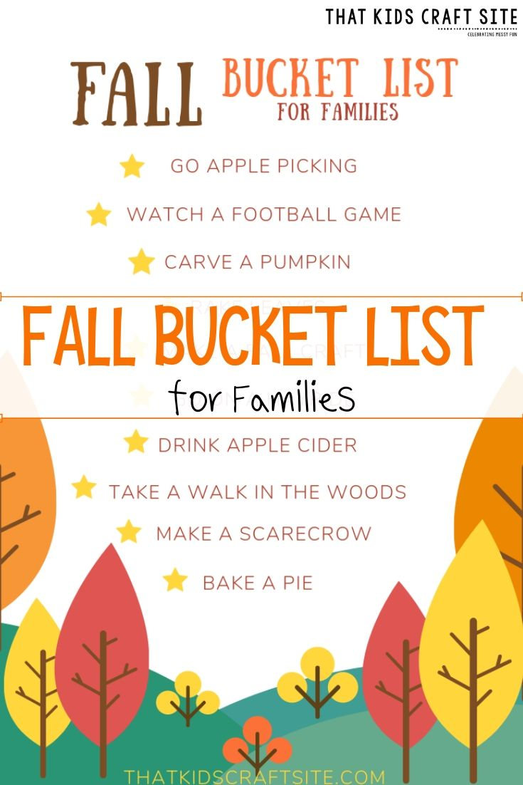 Printable Fall Bucket List for Families  - ThatKidsCraftSite.com