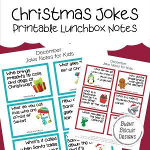 Christmas Jokes Printable Lunchbox Jokes -Burnt Biscuit Designs