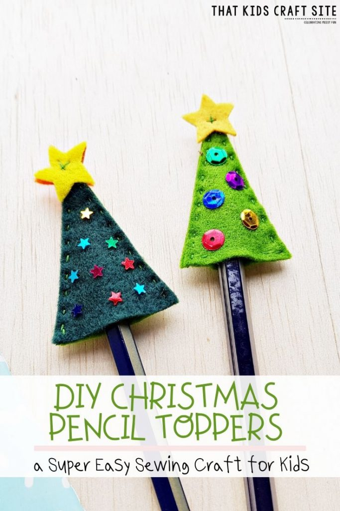 DIY Christmas Tree Pencil Toppers
