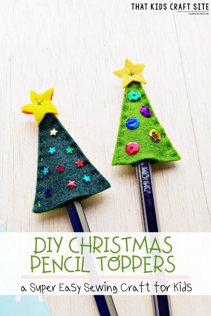DIY Christmas Pencil Toppers - a Super Easy Sewing Craft for Kids  - ThatKidsCraftSite.com