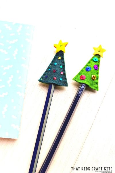DIY Christmas Pencil Toppers with Pattern - ThatKidsCraftSite.com