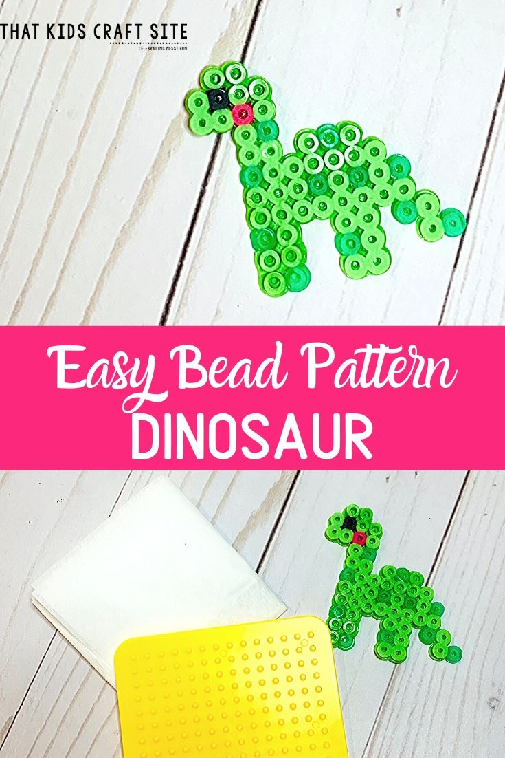 Dino Perler Bead Pattern for Kids - an Easy Perler Bead Pattern - ThatKidsCraftSite.com