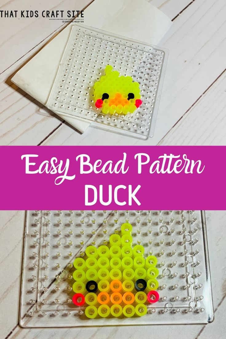 Duck Perler Bead Pattern for Kids - an Easy Perler Bead Pattern - ThatKidsCraftSite.com