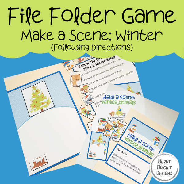 File Folder Game -Make a Winter Scene - Animals - Following Directions-Burnt Biscuit Designs