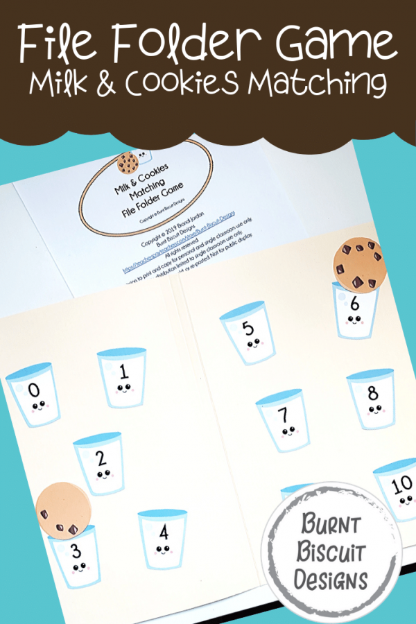 File Folder Game - Milk and Cookies -Burnt Biscuit Designs