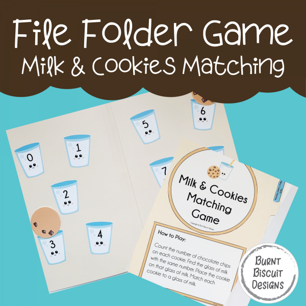 File Folder Game -Milk and Cookies Number Matching-Burnt Biscuit Designs