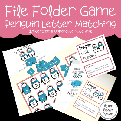 File Folder Game -Penguins Letter Matching-Burnt Biscuit Designs