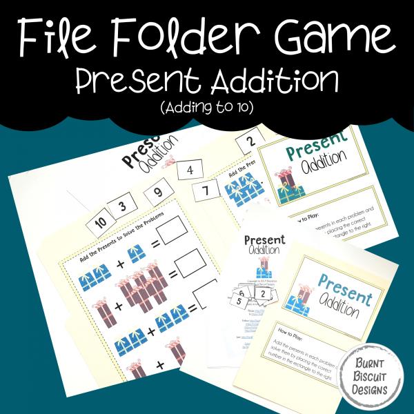 File Folder Game -Present Preschool Addition Adding Game-Burnt Biscuit Designs