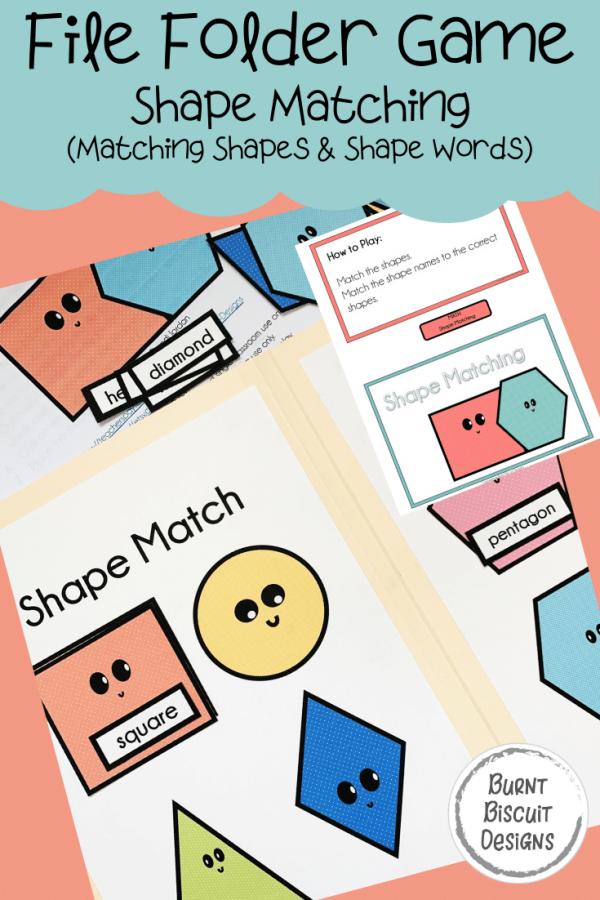 File Folder Game - Shape Match -Burnt Biscuit Designs