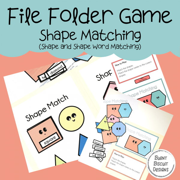 File Folder Game -Shape Matching-Burnt Biscuit Designs