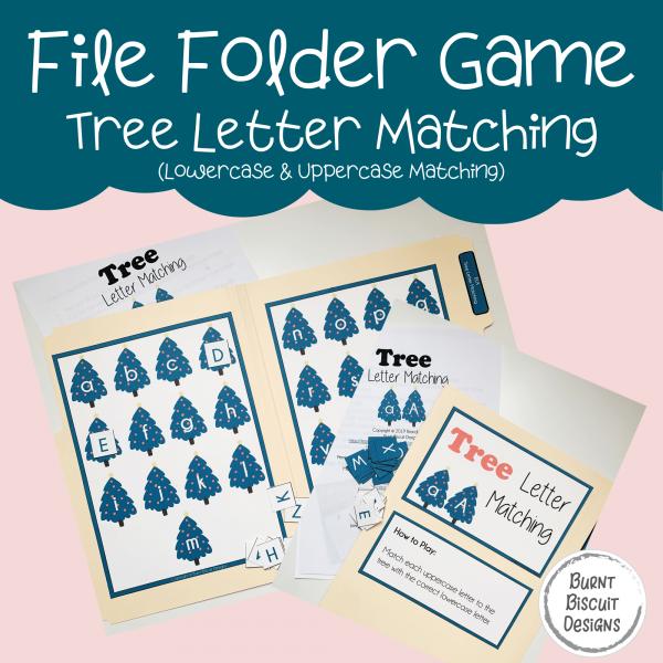 File Folder Game -Tree Letter Matching-Burnt Biscuit Designs