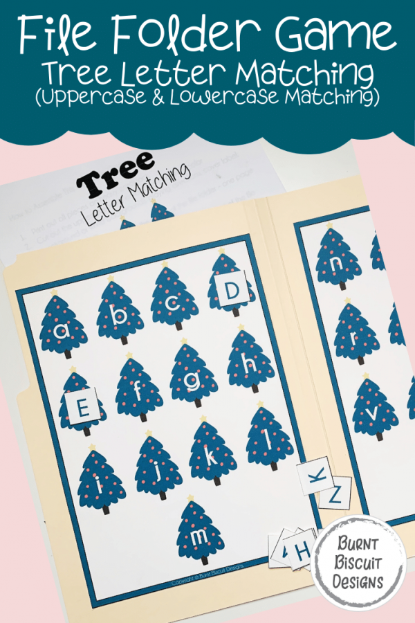 File Folder Game - Tree Letter Matching for Upper and Lowercase Matching -Burnt Biscuit Designs