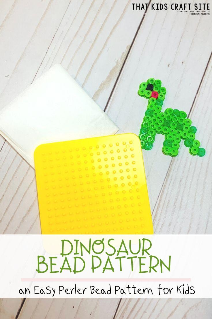Free Dinosaur Perler Bead Pattern - an Easy Perler Bead Pattern for Kids - ThatKidsCraftSite.com
