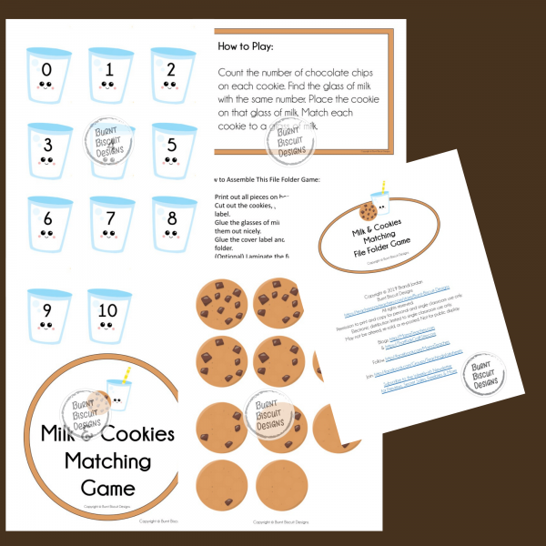 Milk & Cookies Matching Game Preview - Burnt Biscuit Designs