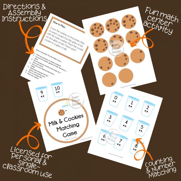 Milk & Cookies Number Matching Game - Burnt Biscuit Designs