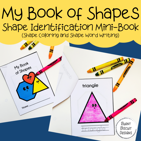 My Book of Shapes Mini-Book - Preschool Shapes Book -Burnt Biscuit Designs