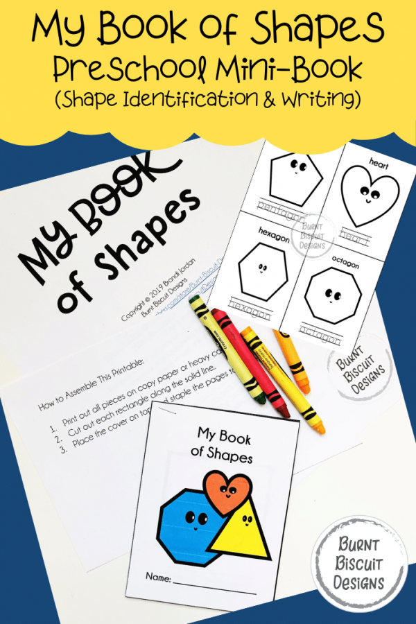 My Book of Shapes - Preschool Shapes Mini Book -Burnt Biscuit Designs