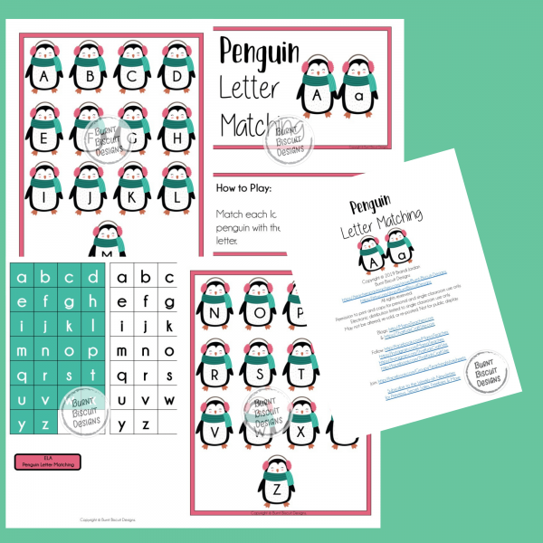 Penguin Letter Matching Game Preview - Burnt Biscuit Designs