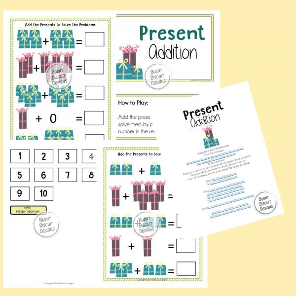 Present Addition File Folder Game Preview - Burnt Biscuit Designs