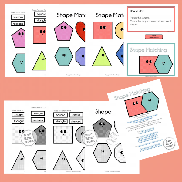 Shape Matching Game Preview - Burnt Biscuit Designs