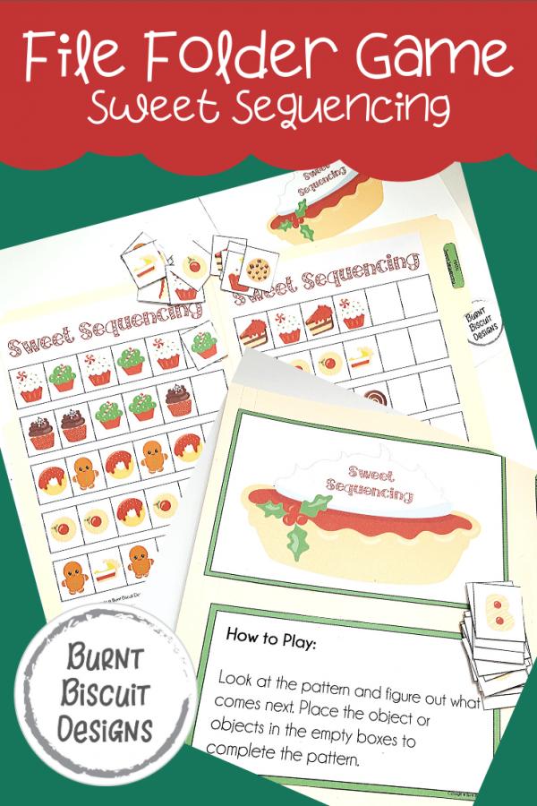 Sweet Sequencing File Folder Game -Burnt Biscuit Designs