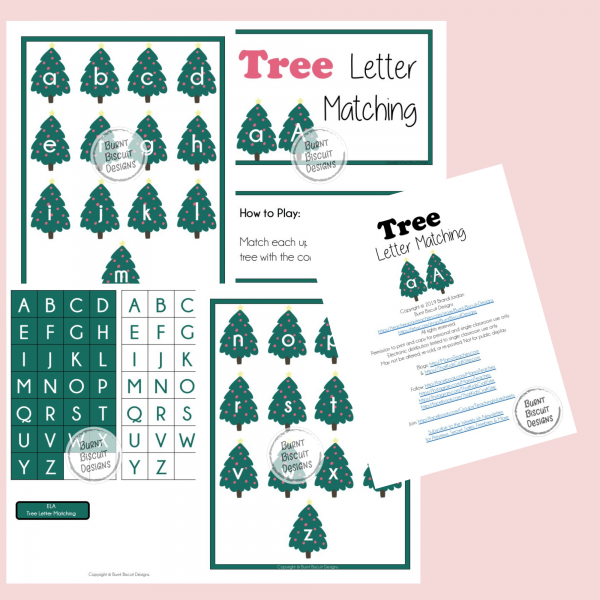 Tree Letter Matching Game Preview - Burnt Biscuit Designs