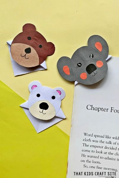 Origami Corner Bookmark Bear Pattern from That Kids Craft Site