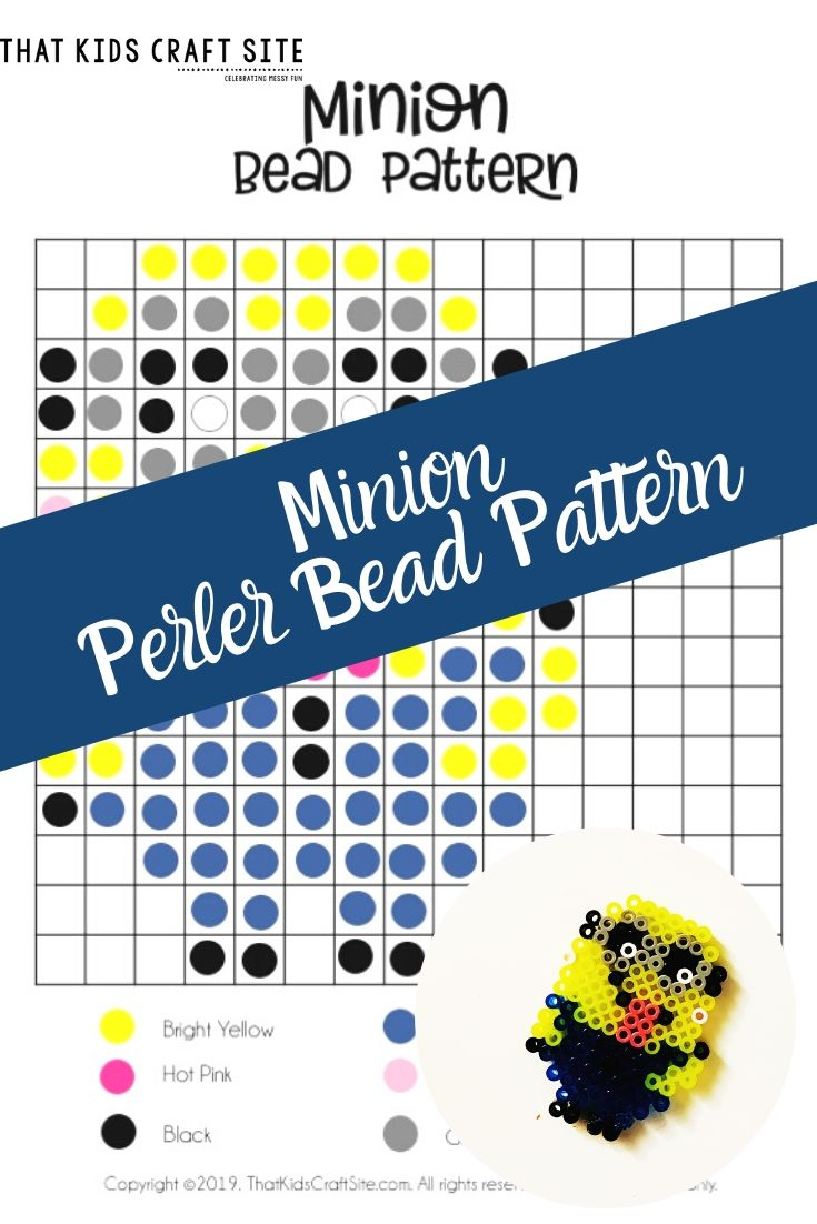 Minion Perler Beads Craft with a Free, Printable Pattern