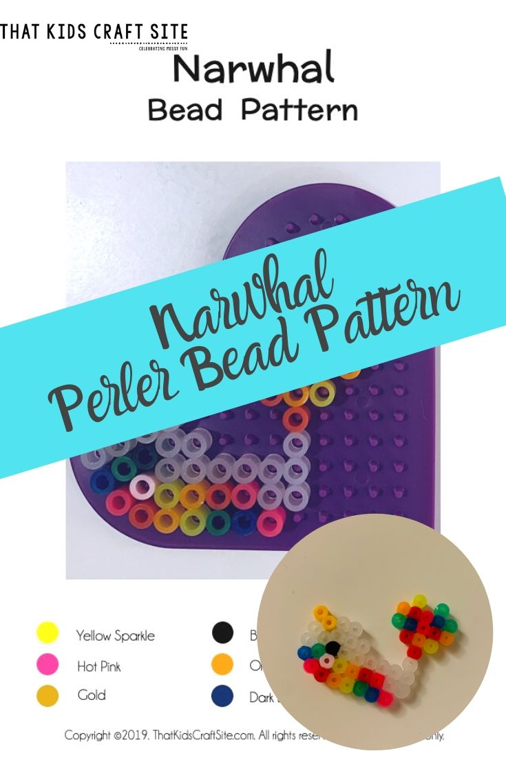 Narwhal Perler Bead Pattern - a Melting Bead Craft for Kids with a Free Downloadable Pattern - ThatKidsCraftSite.com