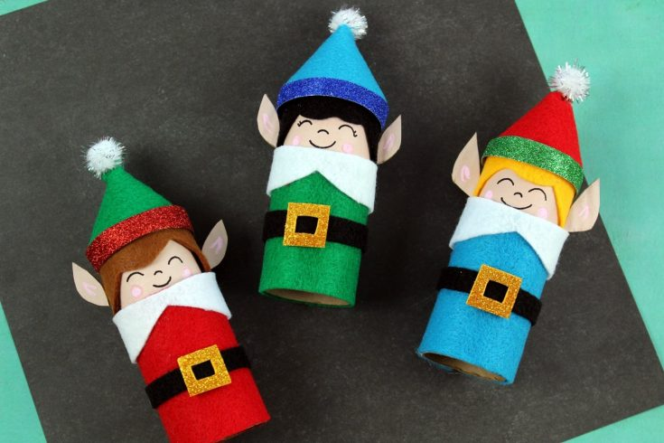 Easy Kids Christmas Crafts - Recycled Toilet Paper Tube Christmas Elves
