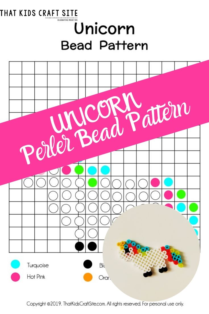 Unicorn Perler Bead Pattern for Kids - ThatKidsCraftSite.com