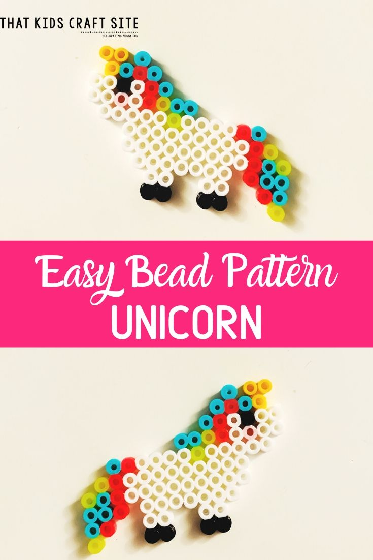 Unicorn Perler Bead Pattern for Kids - an Easy Perler Bead Pattern - ThatKidsCraftSite.com