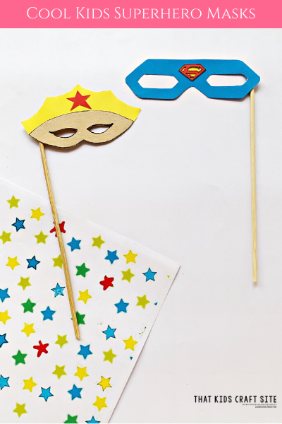 Cool Kids Superhero Masks Craft for Kids - Make a Superman or Wonder Woman Mask! - ThatKidsCraftSite.com