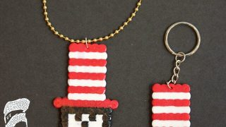 Cat in the Hat Perler Bead Pendants