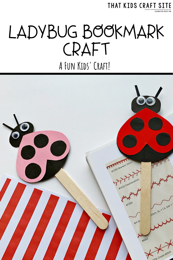 Ladybug Craft - Make a ladybug bookmark for home or for school! Get the free printable template at ThatKidsCraftSite.com