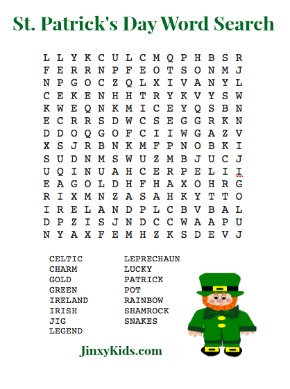 FREE Printable St Patricks Day Word Search Puzzle